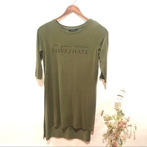 Bershka Long Love/Hate T-shirt 3/4 Sleeves